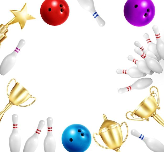 Bowling realistische rahmenkomposition mit kugeln und goldenen bechern