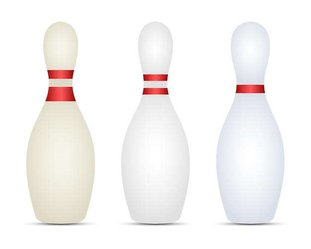Bowling-set-design-illustration lokalisiert auf weißem hintergrund