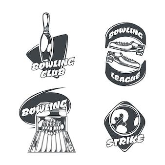 Bowling-set von vier isolierten logos im vintage-stil