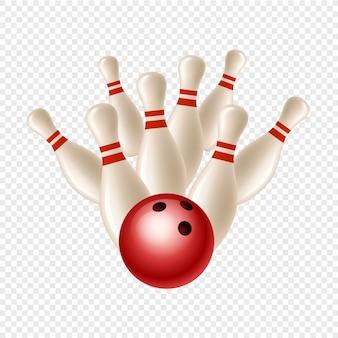 Bowling strike. kegel und ball auf transparentem hintergrund