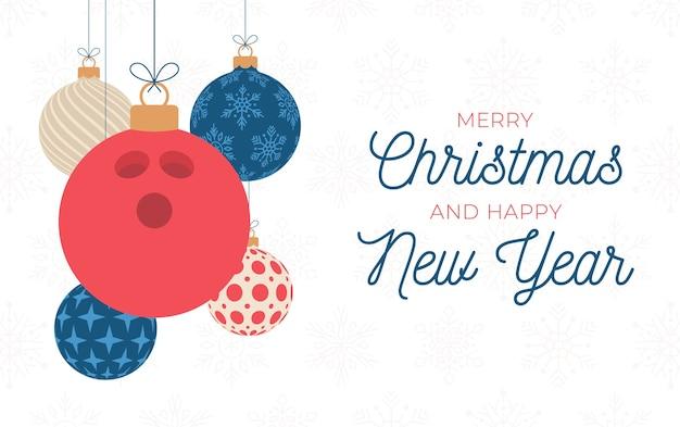 Bowling urlaub banner. flache karikatur-sportgrußkarte der frohen weihnachten und des guten rutsch ins neue jahr.
