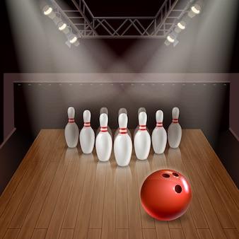 Bowlingbahn mit herausgestellten kegeln und rotem ball unter illustration der scheinwerfer 3d