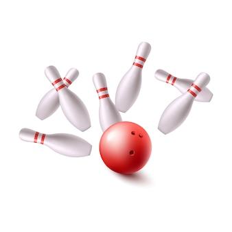 Bowlingkugel fliegt in gruppe von stiften, isoliert.