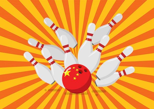 Bowlingkugel mit der china-flagge bricht bowlingstifte
