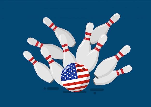 Bowlingkugel mit der flagge der vereinigten staaten bricht bowlingstifte
