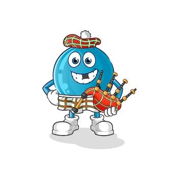 Bowlingkugel schottisch mit dudelsack. zeichentrickfigur