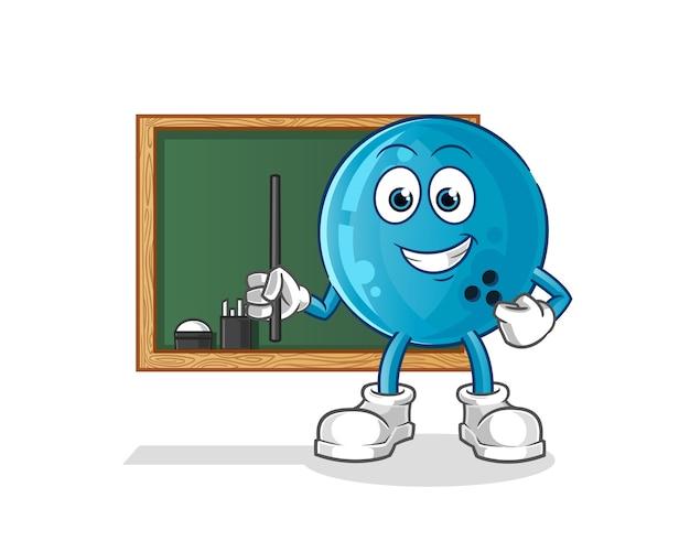 Bowlingkugellehrer. zeichentrickfigur