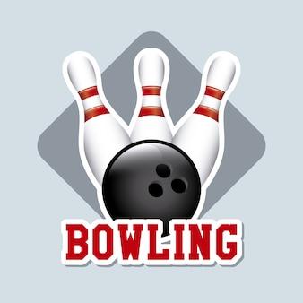 Bowlingspielaufkleber über blauer hintergrundvektorillustration