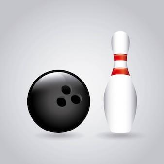 Bowlingspieldesign über grauer hintergrundvektorillustration