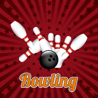 Bowlingspieldesign über roter hintergrundvektorillustration