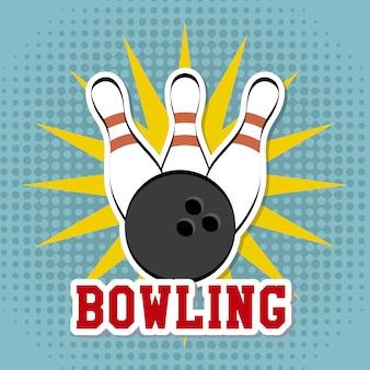 Bowlingspielentwurf über punktierter hintergrundvektorillustration