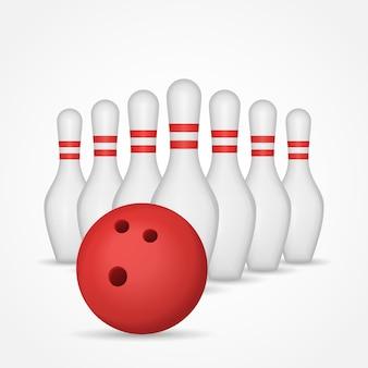 Bowlingstifte und kugel isolierte illustration.