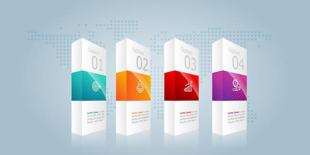 Box horizontale infografiken elementpräsentation mit business icons 4 schritte vektor-illustration hintergrund