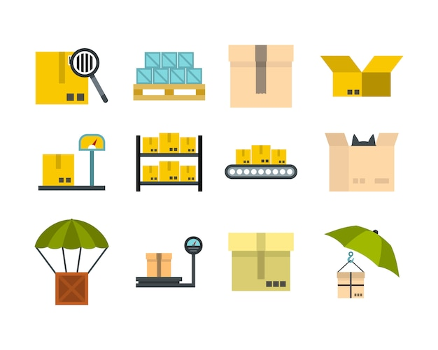Box-icon-set. flacher satz der kastenvektor-ikonensammlung lokalisiert