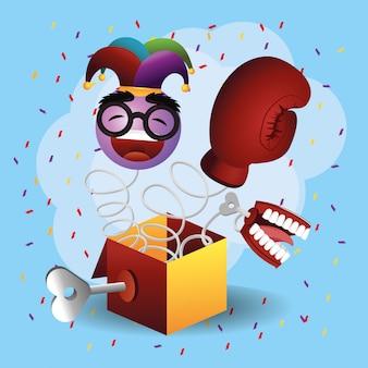 Box mit boxhandschuh und emoji-gesicht