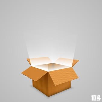 Box mit dem ausgehenden licht öffnen. vektor-illustration