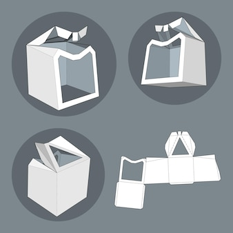 Box mit gestanzter vorlage. verpackungsbox für lebensmittel, geschenke oder andere produkte. auf weißem hintergrund getrennt. bereit für ihr design. produktverpackung vektor eps10.