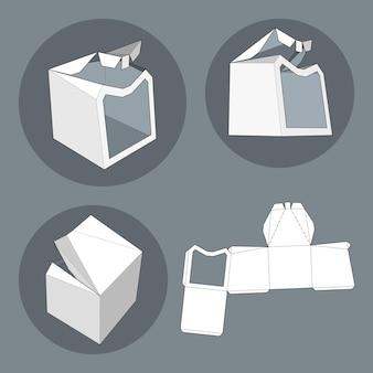 Box mit gestanzter vorlage. verpackungsbox für lebensmittel, geschenke oder andere produkte