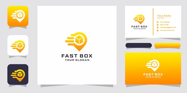 Box mit pin location logo design und visitenkarte