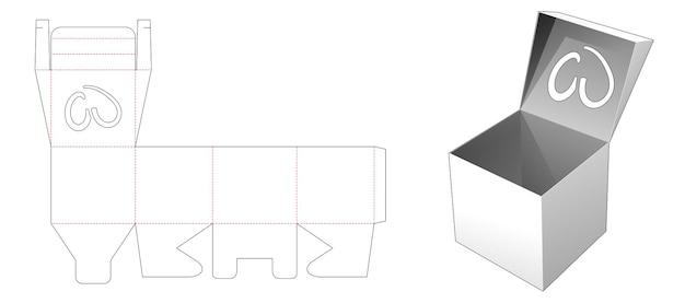 Box mit top flip, die herzförmige fenster gestanzte schablone hat