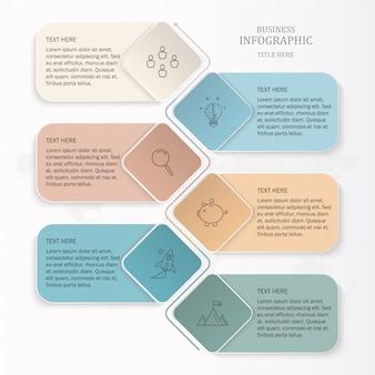 Box-text-infografiken für präsentationsvorlagen.