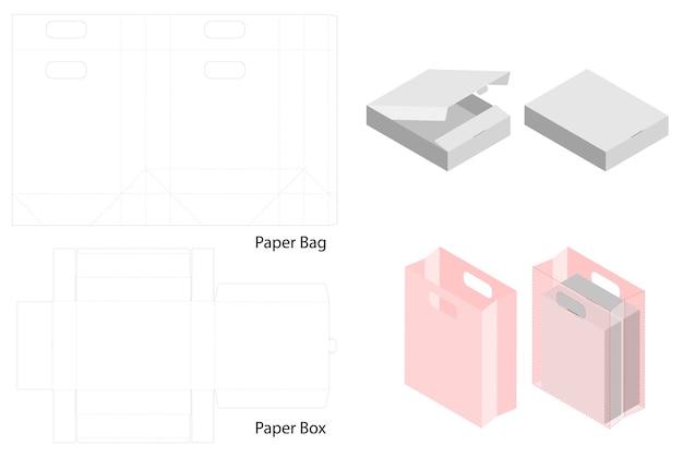 Box und papiertüte set mock-up mit dieline