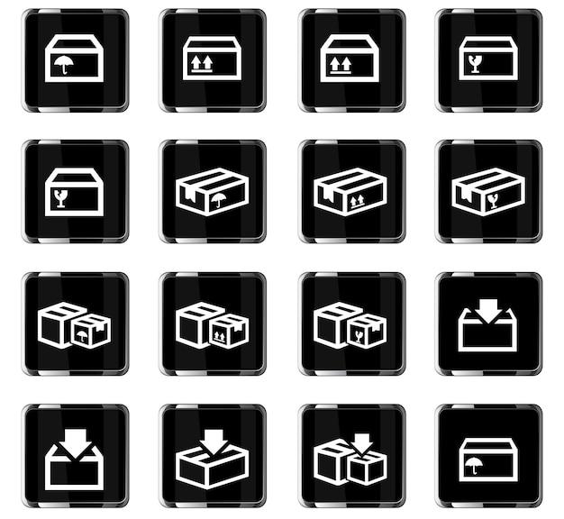 Box-vektorsymbole für das design der benutzeroberfläche