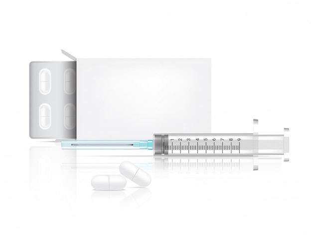 Box verpackung und pillen medizin realistisch