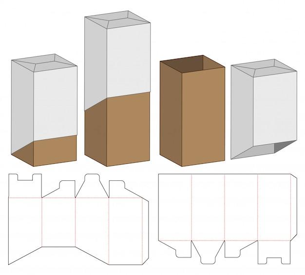Box verpackung vorgestanzte template-design. 3d