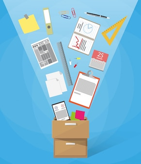 Box voller büromaterial