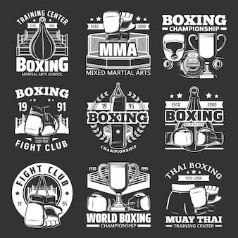 Boxclub-embleme, muay thai kickbox-meisterschaft