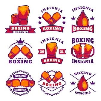 Boxclub-etiketten-emblem-abzeichen-set, boxbezogene designelemente für drucke, logos oder poster poster