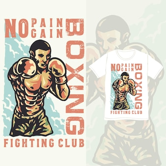 Boxclub training athlet vintage illustration