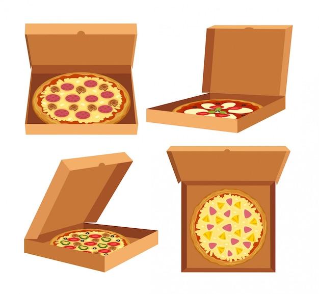 Boxen auf verschiedenen positionen mit pizza