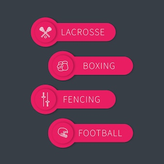 Boxen, fechten, lacrosse, fußballetiketten, banner mit linearen symbolen, vektorillustration