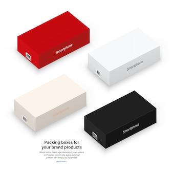 Boxen mit barcode und schatten zum verpacken ihres produkts isoliert auf weißem hintergrund. realistisch und detailliert