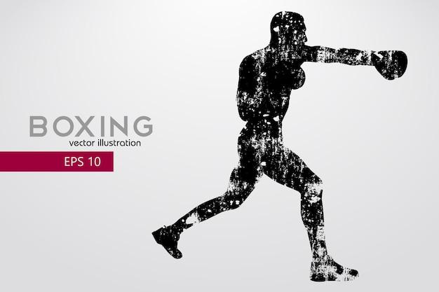 Boxen, silhouette eines boxers