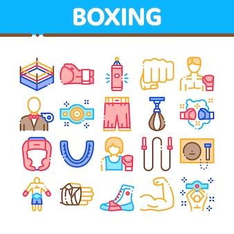 Boxen sport tool sammlung icons set