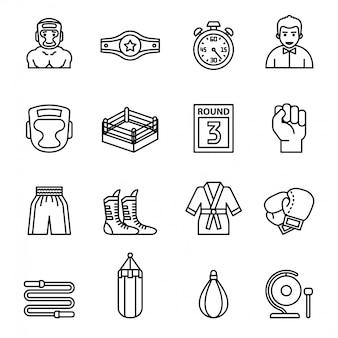 Boxen und kämpfende ikonen eingestellt mit weißem hintergrund.
