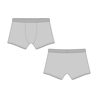 Boxershorts mit technischer skizze. vektor-illustration der unterhose für männer. mann unterwäsche.
