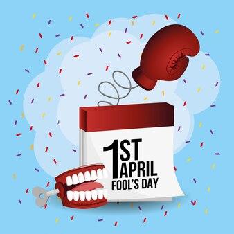 Boxhandschuh mit kalender und zähnen