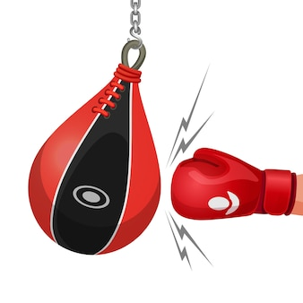 Boxhandschuh trifft boxsack-vektor-illustration isoliert auf weiss. hand klopft an kette hängender boxsack