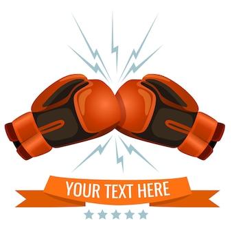 Boxhandschuhe, die ein anderes logo-design treffen, fügen sie hier ihren text hinzu. gepolsterte handschuhe, die kämpfer bei boxkämpfen und übungen an den händen tragen.