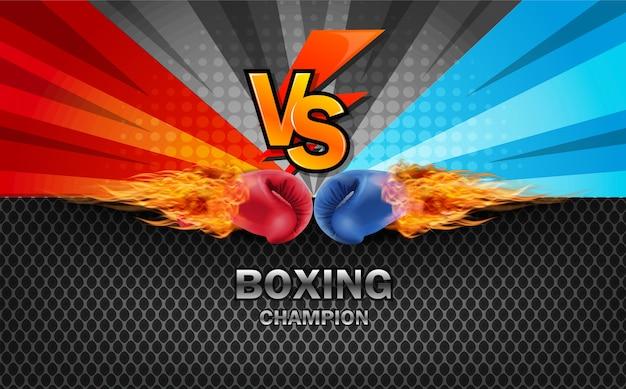 Boxhandschuhe rot und blau schlagen zusammen