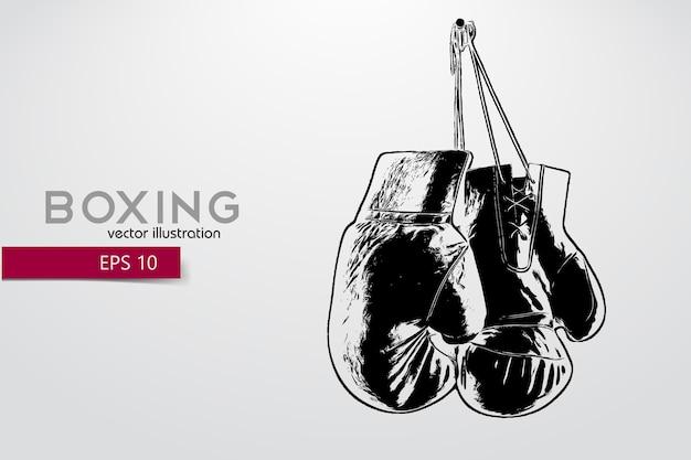Boxhandschuhe silhouette hintergrund und text auf einer separaten ebene