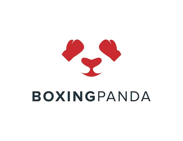 Boxhandschuhe und panda-gesicht einfaches schlankes kreatives geometrisches modernes logo-design