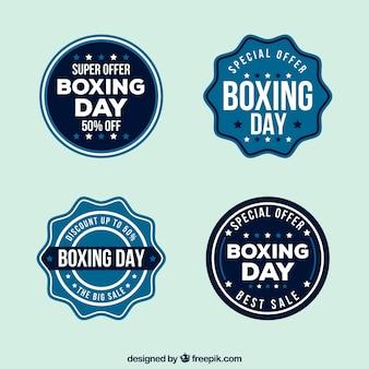 Boxing day abzeichen in blautönen