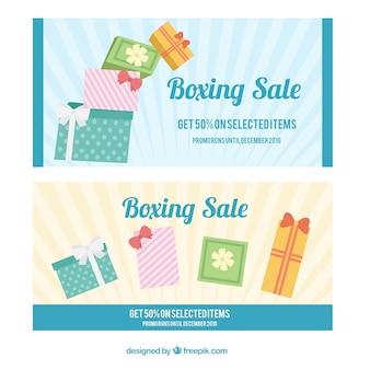 Boxing day banner mit geschenk-boxen in pastellfarben