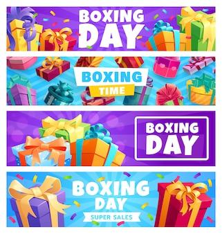 Boxing day geschenke, vektor geschenkboxen mit bändern und konfetti