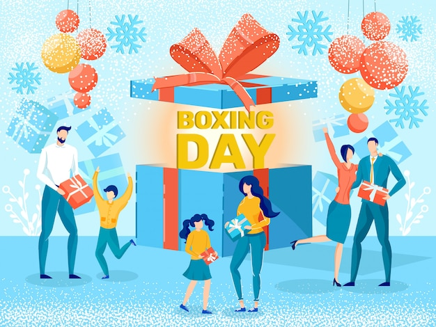 Boxing day saisonale verkauf flat vector ad banner